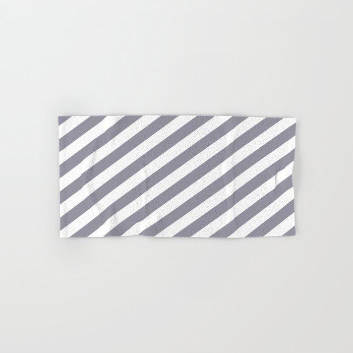 Pantone Lilac Gray & White Stripes Fat Angled Lines - Stripe Pattern Hand & Bath Towel