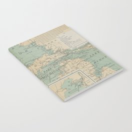 Vintage Great Lakes Lighthouse Map (1898) Notebook