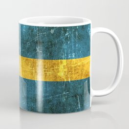 Vintage Aged and Scratched Swedish Flag Coffee Mug