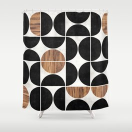 Mid-Century Modern Pattern No.1 - Concrete and Wood Shower Curtain