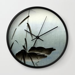 Sleeping Ducks and Full Moon Japanese Woodblock Print Art Wall Clock