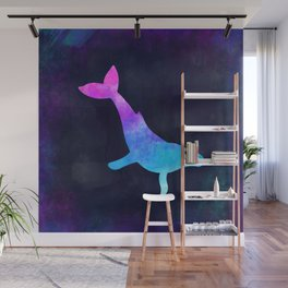 HUMPBACK WHALE IN SPACE // Animal Graphic Art // Watercolor Canvas Painting // Modern Minimal Cute Wall Mural
