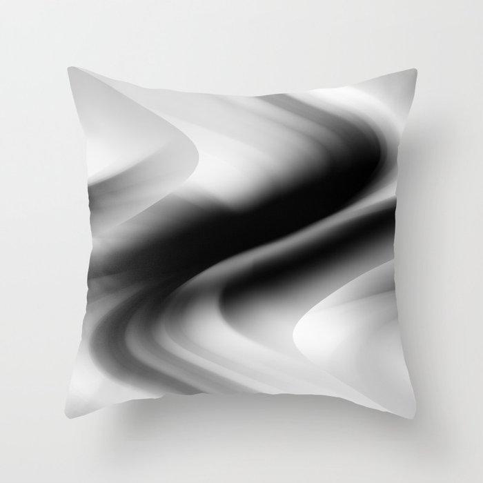 DREAM PATH (Black, Grays & White) Throw Pillow