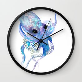 Ocotpus, sea world underwater scene, beach house art Wall Clock