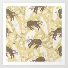 Lazy Boho Sloth On Yellow Background Art Print