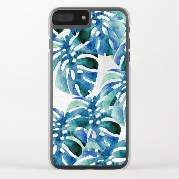 Monstera Pattern Green And Blue Clear iPhone Case