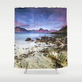 Beach Scene - Mountains, Water, Waves, Rocks - Isle of Skye, UK Shower Curtain