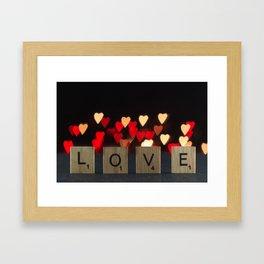 Scrabble tiles LOVE letters with DIY heart bokeh background for Valentine's Day Framed Art Print