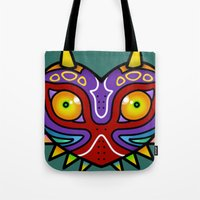 majora Tote Bags featuring Majora Inspired Mask by Clover