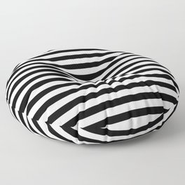Narrow Horizontal Stripe: Black and White Floor Pillow