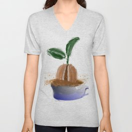 coffee bean in coffee cup Unisex V-Neck