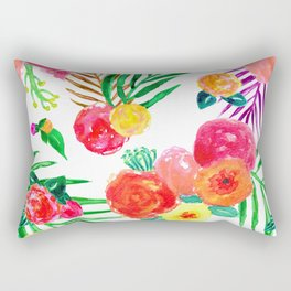 Watercolor Tropical Palm Leaf Floral in White Rectangular Pillow