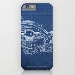 2010 Moto Guzzi Griso1200 8V, motorcycle blueprint, blue poster,milimiter,original poster,giftforhim iPhone Case