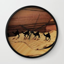 Desert or Sahara of wood marquetry art landscape picture Wall Clock