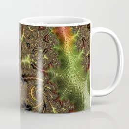 Funky Weaves Weaving Branches Green Red Golden Fractal Abstract Art Pattern Digital Graphic Design Coffee Mug