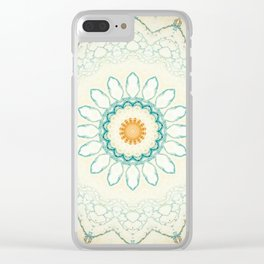 Pastel Yellow Baby Blue Mandala Clear iPhone Case