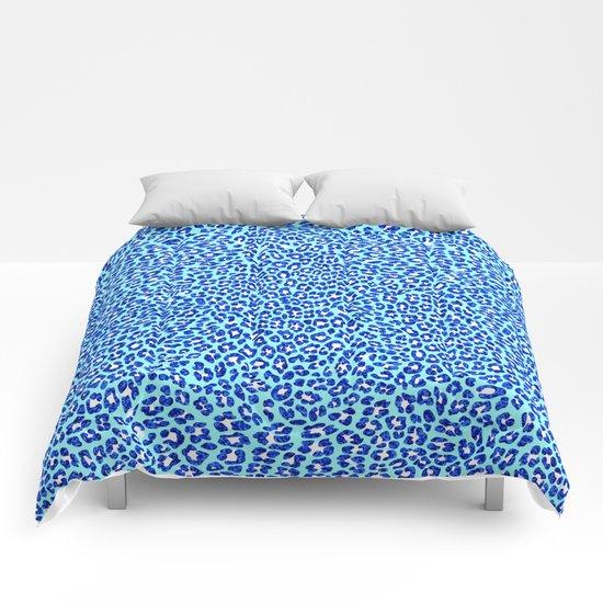 Blue Glitter Cheetah Print Comforters