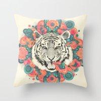 mandala Throw Pillows featuring bengal mandala by Laura Graves