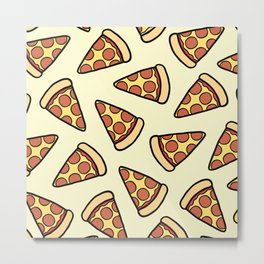 Pepperoni Pizza Pattern Metal Print