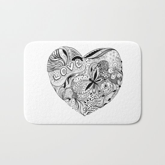 Floral heart for Valentines day Bath Mat