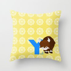 y for yak Throw Pillow