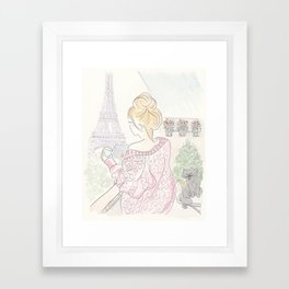 Paris Eiffel Tower Fashionable Morning Coffee and Kitty Cat Framed Art Print