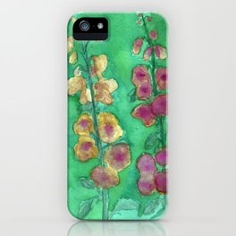 Hollyhock Foxglove Watercolor Honey & Berry on Green iPhone Case