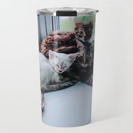 Mom Life (Chablis and her kittens, Moscato, Riesling, Chianti, and Merlot) Travel Mug