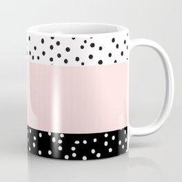 Pink white black watercolor polka dots Coffee Mug