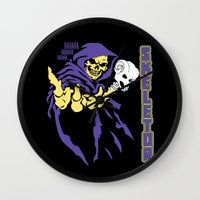 skeletor Wall Clocks featuring Skeletor  by Buby87