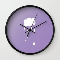 cloud Wall Clocks featuring Cloud by SueM
