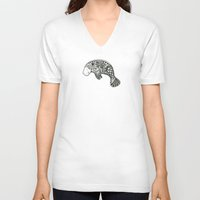 manatee V-neck T-shirts featuring Blue Manatee by Casey Virata