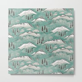 Monte Vista - Turquoise and silver Metal Print