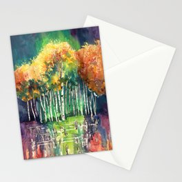 Glimpse of Gold Leaves and Trees Stationery Cards