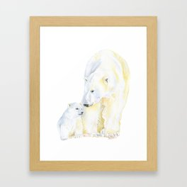 Mother and Baby Polar Bears Watercolor Framed Art Print