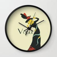 vogue Wall Clocks featuring Vogue by Laurel Natale