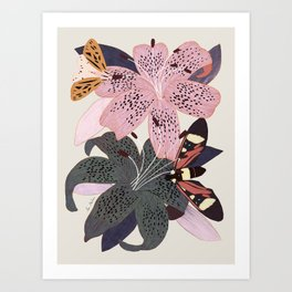 Lilies and butterflies insects Art Print