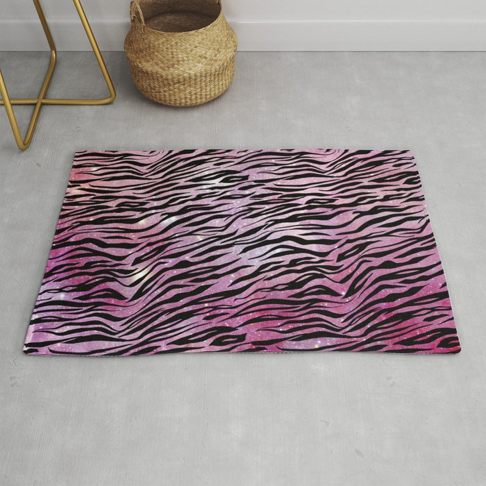 Glam Pink And Black Tiger Print Rug By