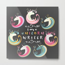 Unicorn Writer Metal Print