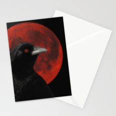 Crow And The Red Glow Moon Stationery Cards
