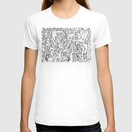 Great Prairie with Sunflowers in Black and White T-shirt