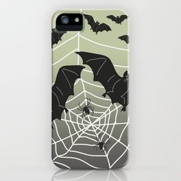 Bats with Spider Web in Background iPhone Case