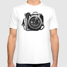 Camera White MEDIUM Mens Fitted Tee