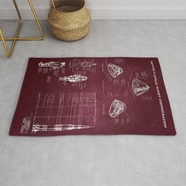 Apollo 11 Saturn V Command Module Blueprint in High Resolution (red) Rug