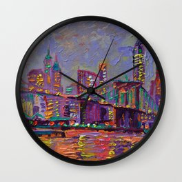 New York City Lights - palette knife painting abstract manhattan skyline Brooklyn bridge Wall Clock