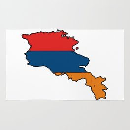 Armenia Map with Armenian Flag Rug