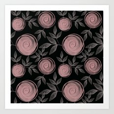Abstract flowers on a black background. Art Print