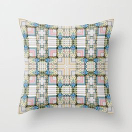 Multi Tiled Pastel Pattern Abstract Throw Pillow