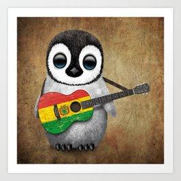Baby Penguin Playing Bolivian Flag Acoustic Guitar Art Print