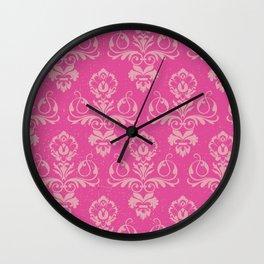 Pink Vintage Damask Wall Clock
